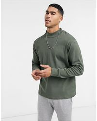 Another Influence High Neck Long Sleeve Top - Green