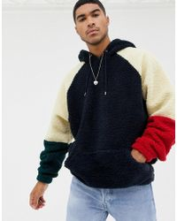 ASOS - Oversized Hoodie With Colour Blocking In Borg - Lyst
