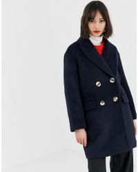 Mango - Double Breasted Short Coat In Navy - Lyst