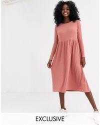 New Look Нюдовое Платье-футболка Миди В Рубчик -светло-коричневый - Многоцветный