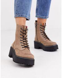 Pull&Bear Ботинки Из Искусственной Замши На Массивной Подошве -серый