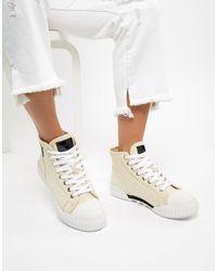 Calvin Klein Бежевые Высокие Кеды Из Плотной Парусины Со Шнуровкой Briony-бежевый - Многоцветный