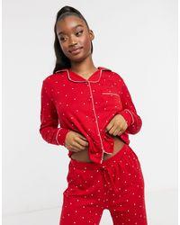 New Look Пижамный Комплект Красного Цвета В Горошек На Пуговицах -серый