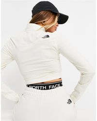 The North Face Укороченный Флисовый Свитшот Кремового Цвета С Молнией 1/4 – Эксклюзивно Для Asos-белый