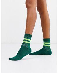 ASOS Glitter Rib Stripe Ankle Socks In Green And Neon