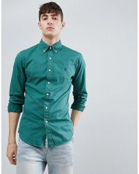 Polo Ralph Lauren - Slim Fit Garment Dyed Shirt Player Logo Button-down In Washed Green - Lyst