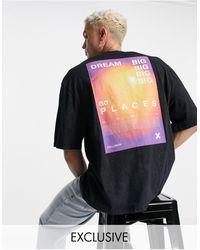 Collusion Camiseta color carbón extragrande con lavado ácido y estampado - Gris