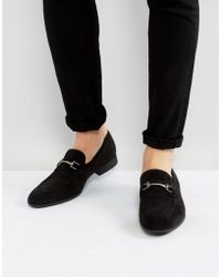 ASOS - Loafers In Black Faux Suede With Snaffle Detail - Lyst