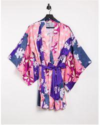 Liquorish – Nightwear – Bademantel mit floralem Patchwork-Print - Mehrfarbig