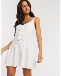 ASOS Lace Up Sundress With Lace Inserts - White