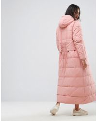 Ellesse Maxi Hooded Padded Jacket With Corset Back Detail - Pink