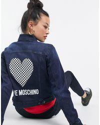 Love Moschino Heart Logo Denim Jacket - Blue