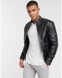Barneys Originals Barney's Originals Belted Racer Leather Jacket With Silver Trims - Black