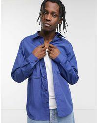 Bolongaro Trevor Chemise à manches longues en coton mélangé effet satiné - Bleu