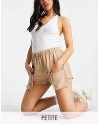 Missguided Shorts color con detalle - Blanco