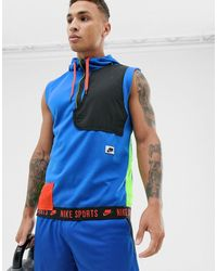 Nike - Sport Pack - Mouwloze Hoodie In Blauw - Lyst
