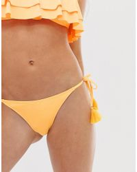 Glamorous - Frill Bikini Bottom In Yellow - Lyst