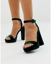 ASOS Nutshell - Minimalistische Sandalen Met Hak En Plateauzool - Groen