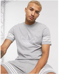 adidas Originals T-shirt With Outline Trefoil Logo - Gray
