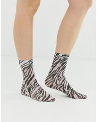 ASOS - Zebra Print Ankle Sock In Pink And Black - Lyst
