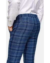 TOPMAN Pantaloni skinny da abito blu a quadri