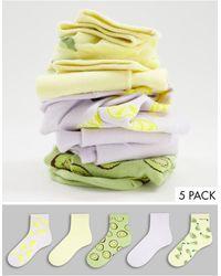 Monki Набор Из 5 Пар Разноцветных Носков Из Органического Хлопка С Принтом Фруктов Polly-разноцветный - Многоцветный
