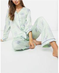 Chelsea Peers Мятно-зеленый Пижамный Комплект Из Рубашки И Брюк С Принтом Ананасов -зеленый Цвет