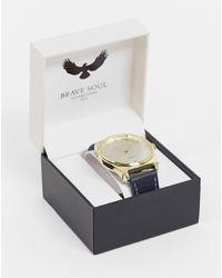 Brave Soul Часы На Кожаном Черном Ремешке С Золотистым Циферблатом -черный