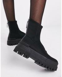 Bershka Chunky Sole Sock Boot - Black