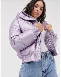 Bershka Сиреневая Дутая Куртка С Эффектом Металлик И Капюшоном -фиолетовый - Пурпурный