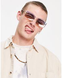 ASOS Rimless Retro Sunglasses With Gradient Lens - Metallic