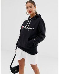 Champion - Boyfriend Hoodie With Front Script Embroidered Logo - Lyst
