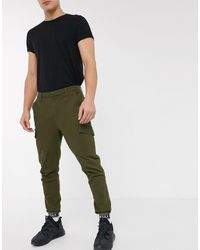 SIKSILK Taped Cuffed Cargo Pants-green