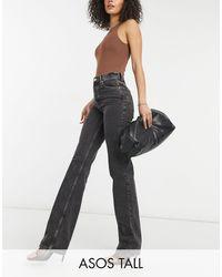 ASOS ASOS DESIGN Tall - Jeans dritti anni '90 a vita medio alta nero slavato