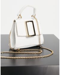Truffle Collection Micro Mini Grab Bag With Statement Buckle And Chain Strap - White
