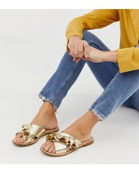 Miss Selfridge Flat Sandals With Frill Detail In Gold - Metallic