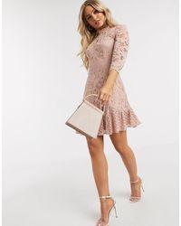 Chi Chi London Flippy Lace Skater Dress - Pink