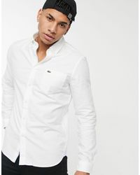 Lacoste Camicia Oxford con colletto button-down bianca - Bianco