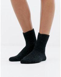 Monki - Super Soft Glitter Socks In Black - Lyst
