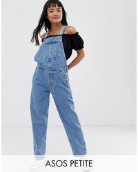 ASOS ASOS DESIGN Petite - Original - Salopette en jean à délavage moyen - Bleu