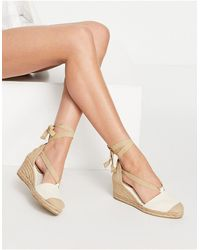 Pull&Bear Espadrille Wedges Shoes With Tie Up Detail - White