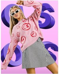 ASOS Sweater With Smile Face Pattern - Pink