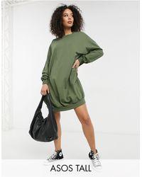 ASOS - Vestido caqui estilo sudadera extragrande - Lyst