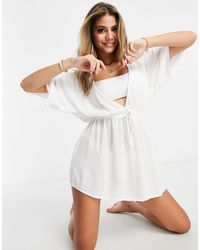 ASOS Crinkle Beach Cover Up With Tie Waist - White