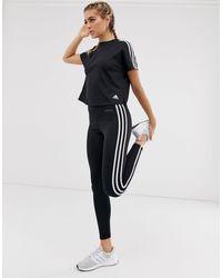 adidas Originals Adidas Training - Leggings con tre strisce neri - Nero