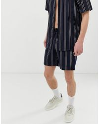 Mennace Two-piece Short In Navy Stripe - Blue