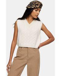 TOPSHOP Cable Knit Vest - Natural