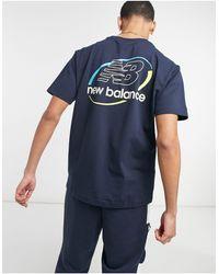 New Balance T-shirt con logo circolare nera - Nero