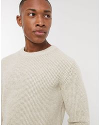 SELECTED Organic Cotton Waffle Knitted Crew Neck Sweater - Gray
