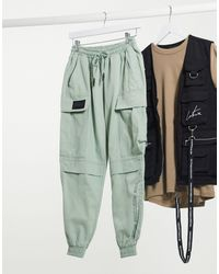 The Couture Club Racer Cargo Pocket Trousers - Green